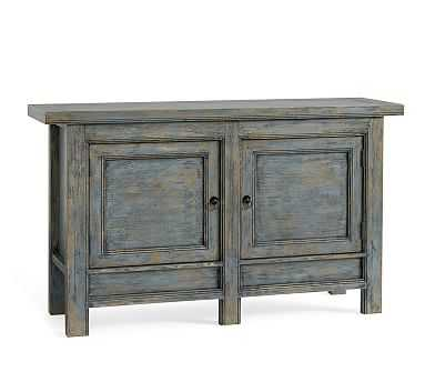Molucca Media Console, Distressed Blue - Pottery Barn