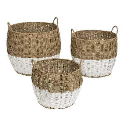 Honey-Can-Do 15.5 Gal. Seagrass Storage Baskets in Natural White (3-Pack) - Home Depot