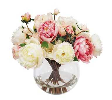 Faux Peony and Rose In Round Glass Vase, White/Pink - Pottery Barn