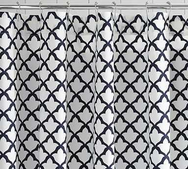 Marlo Organic Shower Curtain, Navy Blue - Pottery Barn