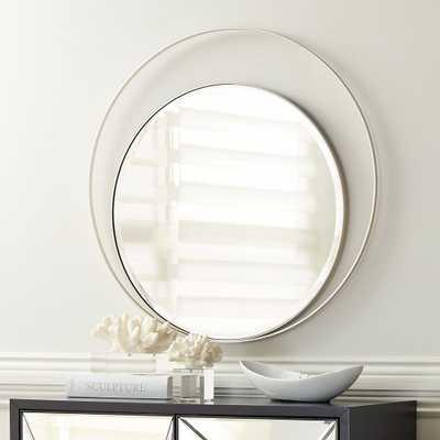 "Keri 31 1/2"" Wide Asymmetrical Round Silver Wall Mirror - Style # 66E22 - Lamps Plus"