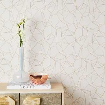 Chasing Paper Geo Prisms Wallpaper, Neutral - West Elm