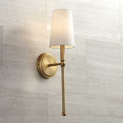 """Greta 21"""" High Warm Brass Wall Sconce with Linen Shade - Style # 9J997 - Lamps Plus"""