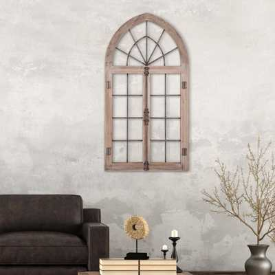 Arched Cathedral Window Frame Wooden Wall Art, Gray - Home Depot