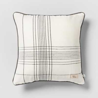 Hello Spring Striped Reversible Throw Pillow Cream / Green / Gray - Hearth & Hand with Magnolia, Off White - Target