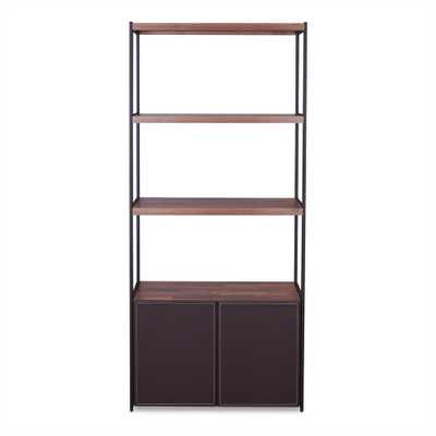 Sara Walnut and Sandy Black Bookcase - Home Depot