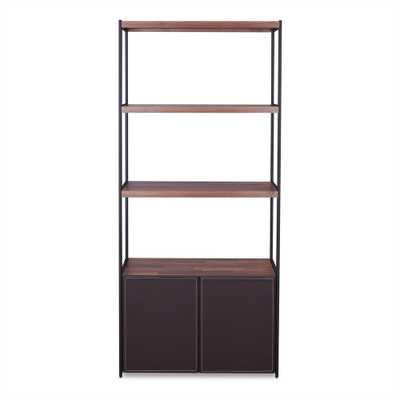Sara Walnut and Sandy Black Bookcase - Home Depot