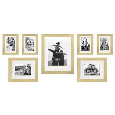 Stonebriar Collection Decorative Stamped Gold Picture Frame Set (Set of 7) - Home Depot