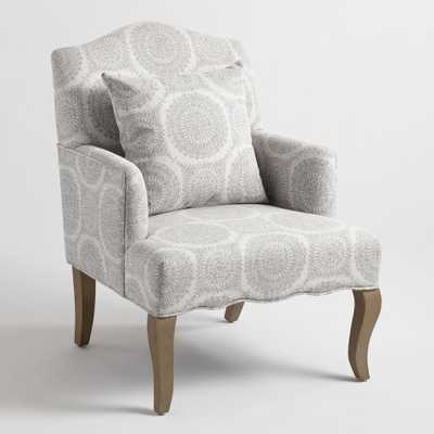 Gray Medallion Davenport Upholstered Armchair with Pillow by World Market - World Market/Cost Plus