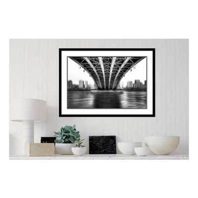 36 in. W x 26 in. H 'Bridge To Another World' by Em-photographies Printed Framed Wall Art, Grey/Black - Home Depot