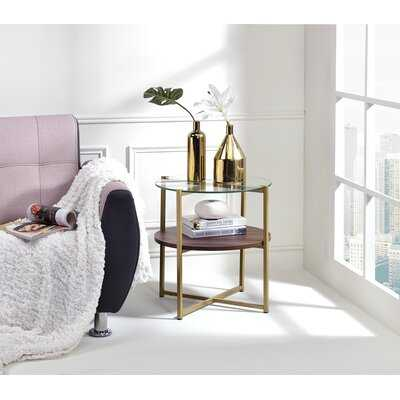 Maus Round End Table in , Glass - Wayfair