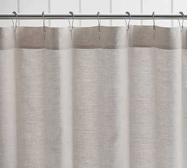 Belgian Linen Hemstitch Shower Curtain, Flax - Pottery Barn