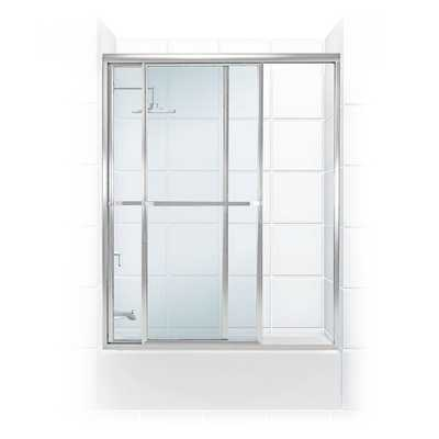 Coastal Shower Doors Paragon Series 56 in. x 56 in. Framed Sliding Tub Door with Towel Bar in Chrome and Clear Glass - Home Depot