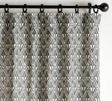 "Mitzi Print Curtain, Charcoal Multi, 96 x 50"" - Pottery Barn"