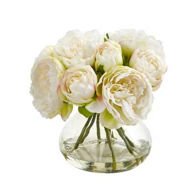Nearly Natural Peony Artificial Arrangement in Vase - Home Depot