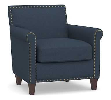 SoMa Roscoe Upholstered Tufted Armchair, Polyester Wrapped Cushions, Brushed Crossweave Navy - Pottery Barn