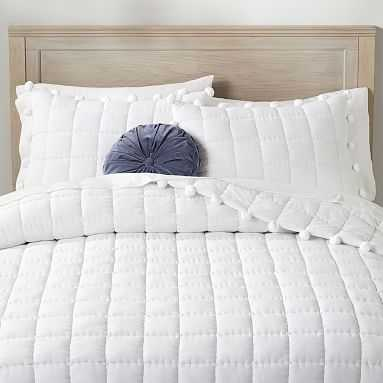 Pom Pom Quilt, Full/Queen, White - Pottery Barn Teen