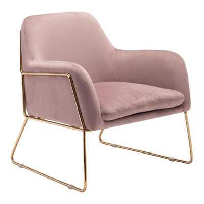 ZUO Nadir Pink Velvet Arm Chair - Home Depot