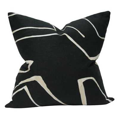 Graffito Onyx and Cream - 18x18 pillow cover / pattern on both sides - Arianna Belle