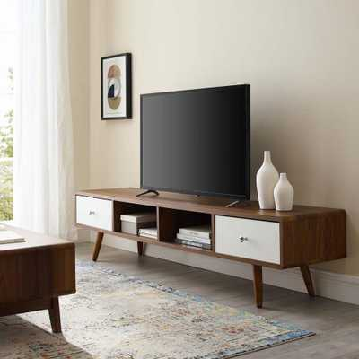 MODWAY Walnut White Transmit 70 in. Media Console Wood TV Stand - Home Depot