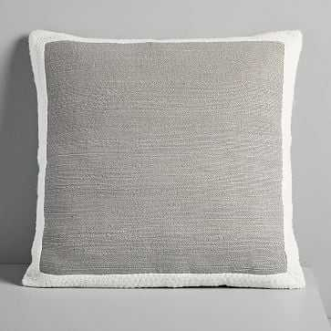 "Textured Border Pillow Cover, Platinum , 20""x20"" - West Elm"