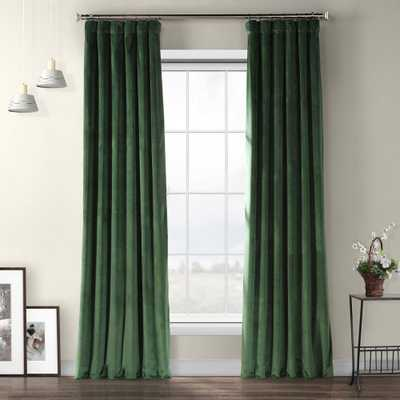 Exclusive Fabrics & Furnishings Eden Green Heritage Plush Velvet Curtain - 50 in. W x 108 in. L - Home Depot