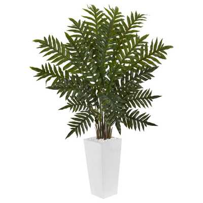 Indoor Evergreen Artificial Plant in White Tower Planter - Home Depot