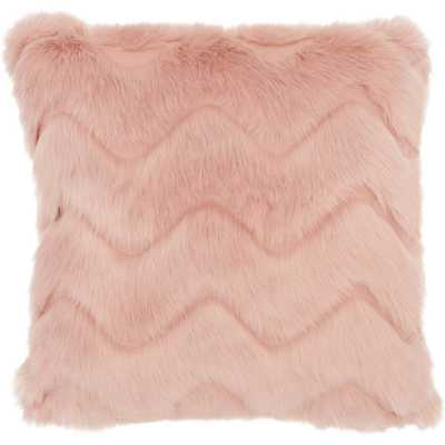 Chevron Faux Fur Square Throw Pillow Pink - Mina Victory - Target