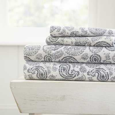 Coarse Paisley Patterned 4-Piece Navy (Blue) King Performance Bed Sheet Set - Home Depot