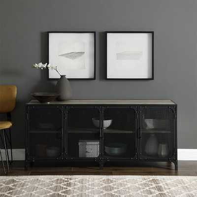 60 in. Grey Wash Industrial Console with Mesh - Home Depot