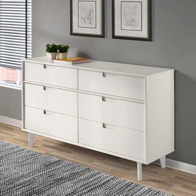 Walker Edison Furniture Company 6-Drawer Groove Handle Wood Dresser - White - Home Depot