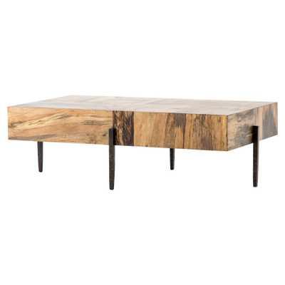 Julius Modern Rectangular Slab Wood Top Slim Black Iron Coffee Table - Kathy Kuo Home