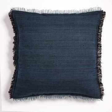 "Textured Silk Fringe Pillow Cover, 20""x20"", Shadow Blue - West Elm"