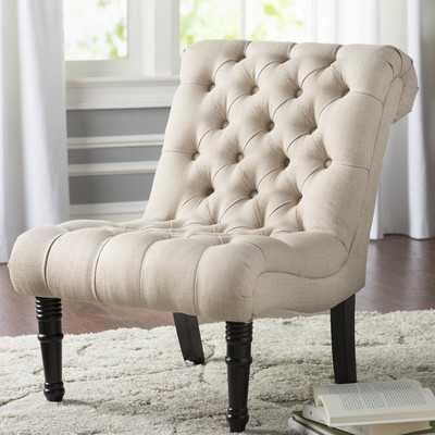 Clarke Scroll Back Tufted Slipper Chair - Wayfair