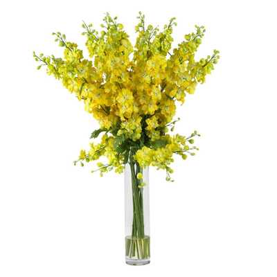 Nearly Natural 38 in. H Yellow Delphinium Silk Flower Arrangement - Home Depot