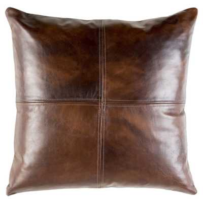 Rydel Rustic Lodge Brown Leather Pillow - 20x20 - Kathy Kuo Home
