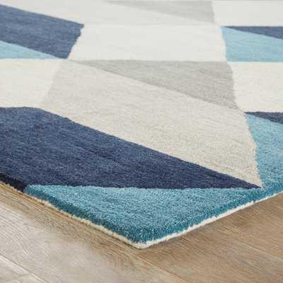 Benson Gray/Blue Geometric Area Rug - Wayfair