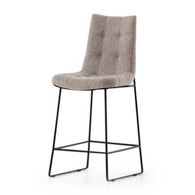 Naomi Savile Flannel Tufted Counter Stool - Crate and Barrel