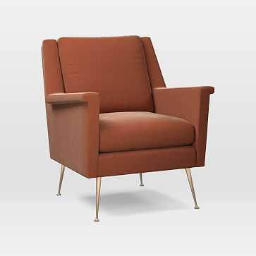 Carlo Mid-Century Chair, Astor Velvet, Rust, Brass - West Elm