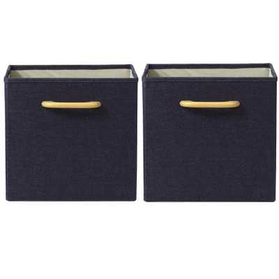 Collapsible Dark Blue Bins with Handles (Set of 2) - Home Depot