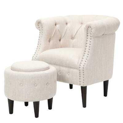 Starks Tufted Fabric Chesterfield Chair and Ottoman - Wayfair