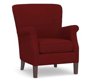 SoMa Minna Upholstered Armchair, Polyester Wrapped Cushions, Twill Sierra Red - Pottery Barn