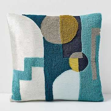 Embellished Deco Shapes Pillow Cover, Blue Slate - West Elm