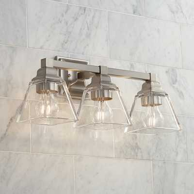 """Mencino 20"""" Wide Satin Nickel and Clear Glass Bath Light - Style # 39D41 - Lamps Plus"""