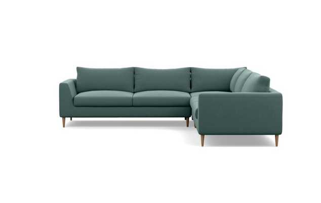 Asher Corner Sectional with Mist Fabric and Natural Oak legs - Interior Define