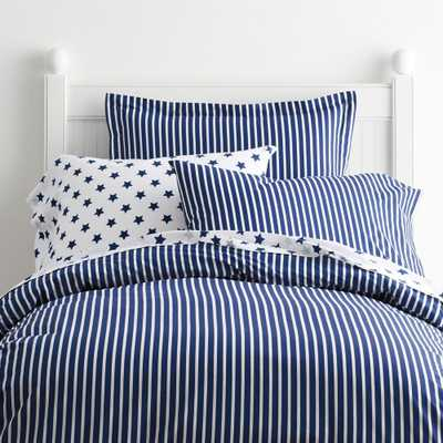 Aiden Stripe Cotton Percale Blue Tide Full Duvet Cover - Home Depot