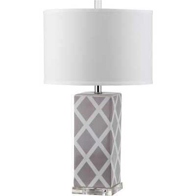 Safavieh Garden Lattice 27 in. Grey Table Lamp with White Shade - Home Depot