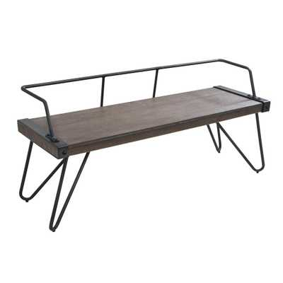 Stefani Walnut and Antique Industrial Bench, Antique/Brown - Home Depot