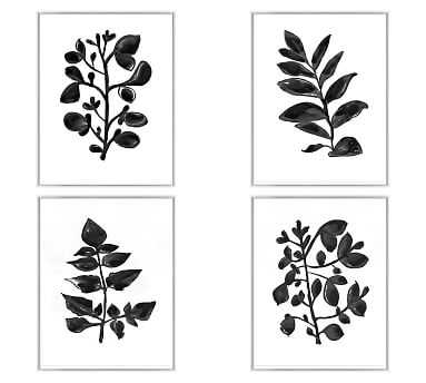 "Foliage Silhouette Framed Prints, Set of 4, 22 x 28"" - Pottery Barn"