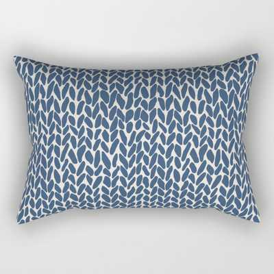 "Hand Knit Navy Rectangular Pillow - Small (17"" x 12"") - Society6"